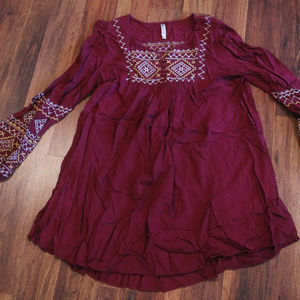 Fuchsia Light Tunic Top with Faux Smocked Detail